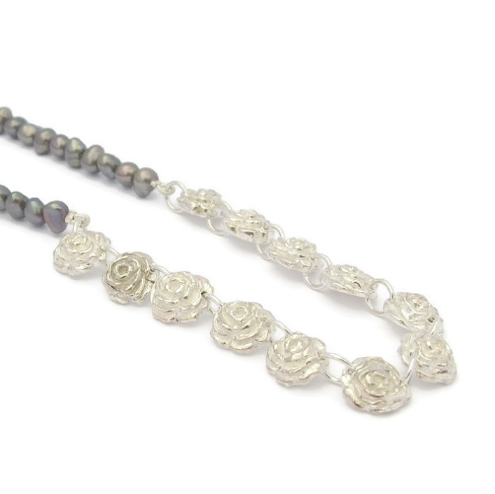 Fine Silver Rose & Grey Pearl Necklace