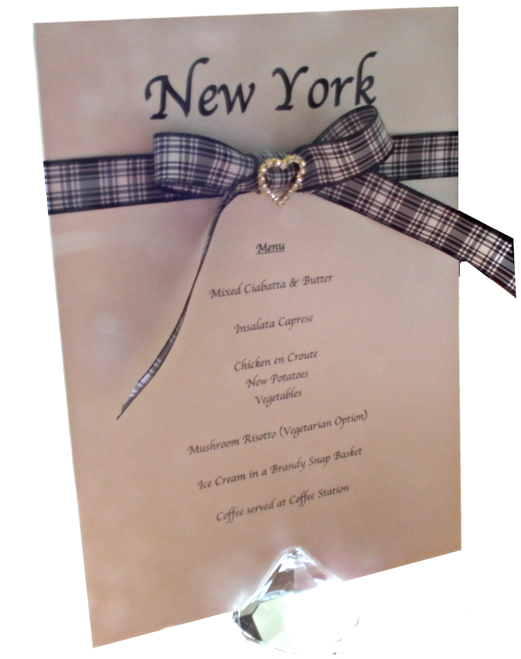 Combined Table Name & Menu Card