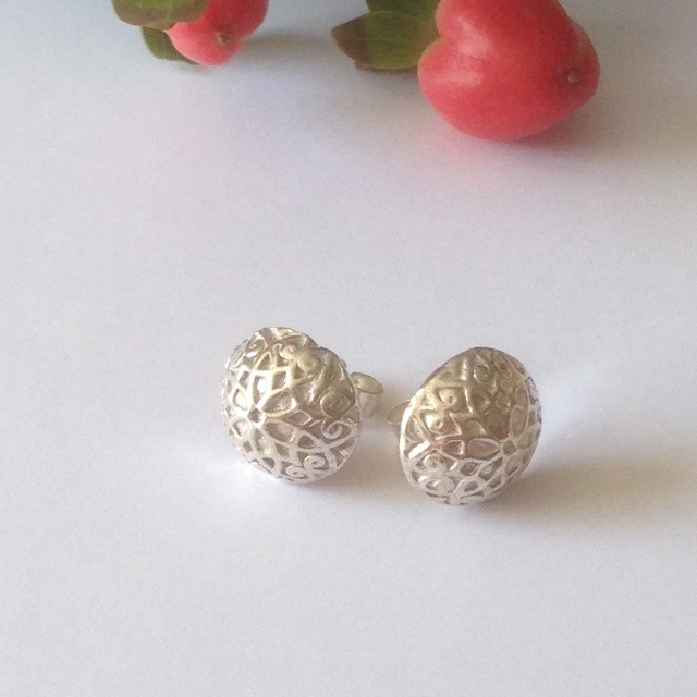 Ornate Dome Stud Earrings