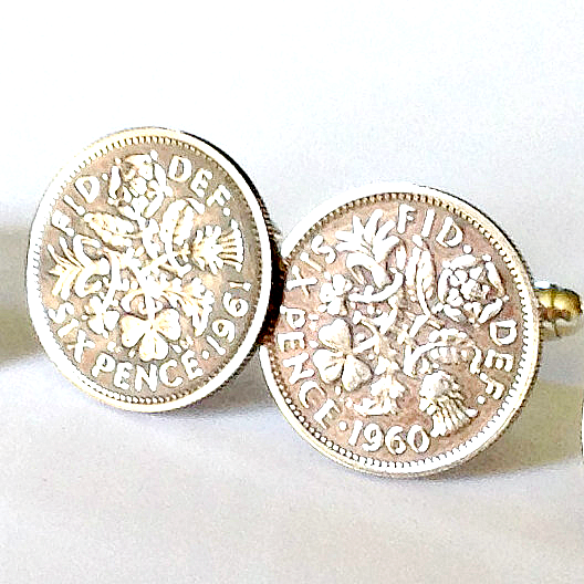 Silver Sixpence Cufflinks