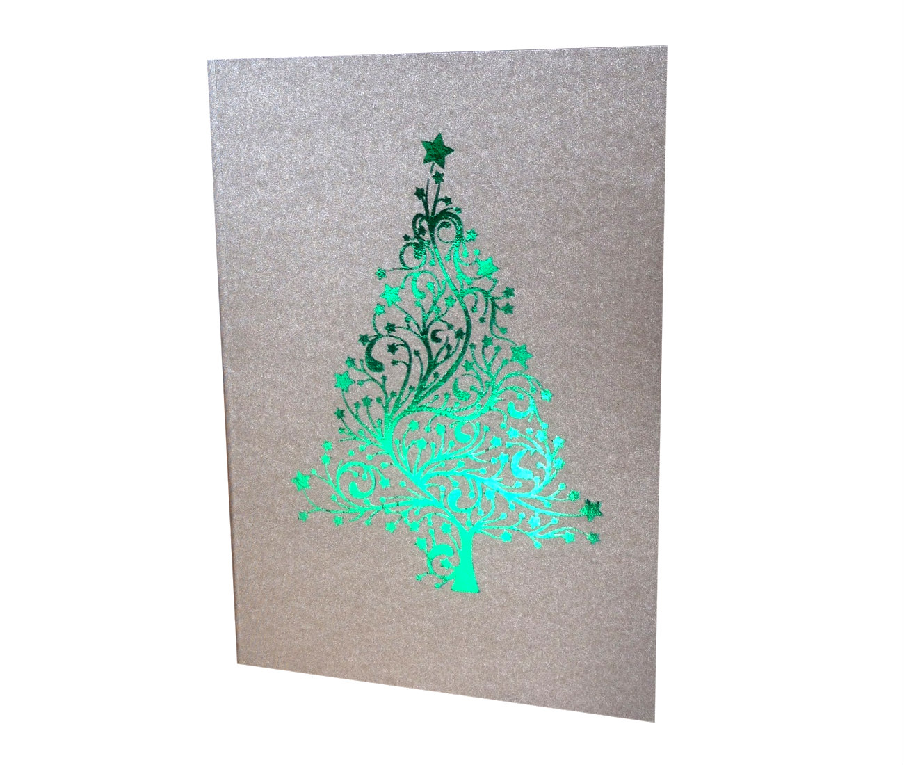 Green Foiled Christmas Tree Card