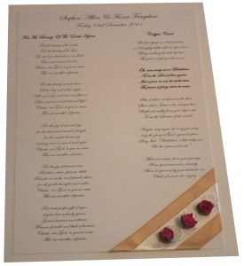 Wedding Stationery - Carol Sheet Order Of Service