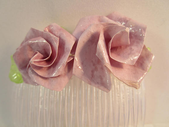 Wedding accessories - Vintage Hair Comb Lavender Roses