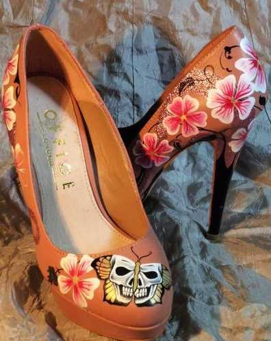 Bespoke Wedding Shoes - Skull Butterfly